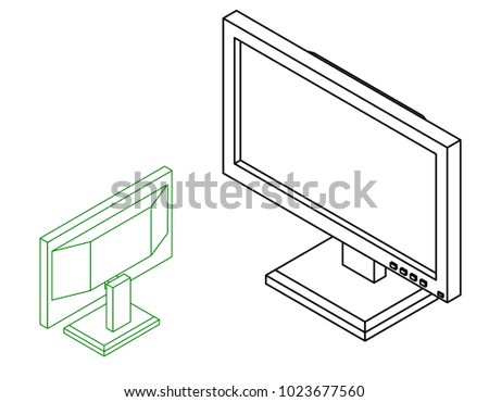 Computer monitor icon. Isolated on white background. Vector outline illustration. Isometric projection.