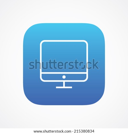 Computer monitor icon, vector illustration. Flat design style. Line version - stock vector