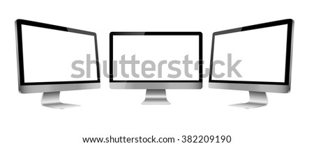 Computer monitor isolated on white, clipping path. Vector illustration. - stock vector