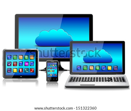 Computer monitor, laptop, tablet pc, and mobile smartphone with a blue background and colorful apps on a screen. Isolated on a white. 3d image.eps - stock vector