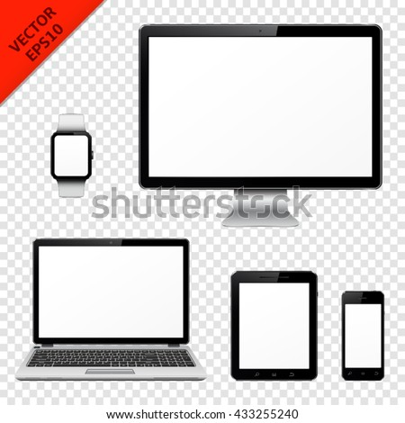 Computer monitor, laptop, tablet pc, mobile phone and smart watch isolated on transparent background - stock vector