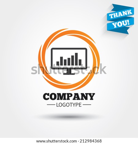 Computer monitor sign icon. Market monitoring. Business abstract circle logo. Logotype with Thank you ribbon. Vector - stock vector