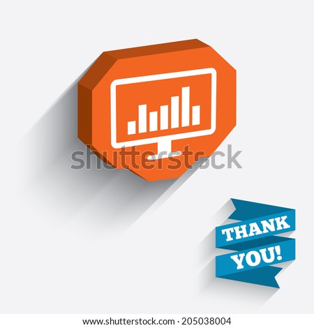 Computer monitor sign icon. Market monitoring. White icon on orange 3D piece of wall. Carved in stone with long flat shadow. Vector - stock vector