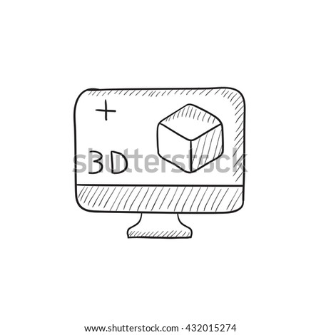 Computer monitor with 3D box vector sketch icon isolated on background. Hand drawn Computer monitor with 3D box icon. Computer monitor with 3D box sketch icon for infographic, website or app. - stock vector