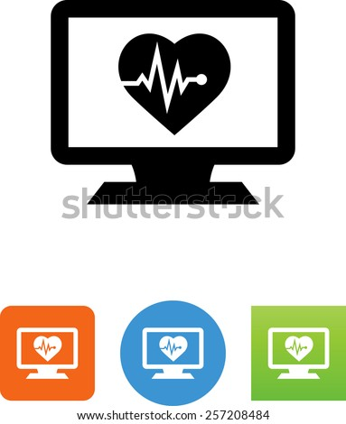 Computer monitor with health symbol for download. Vector icons for video, mobile apps, Web sites and print projects.  - stock vector