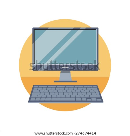 Computer monitor with keyboard. Can be used for web banners, marketing and promotional materials, presentation templates  - stock vector