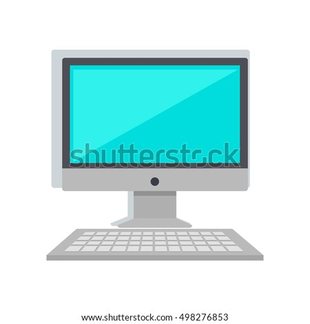Computer monitor with keyboard isolated on white. Work place. Modern office interior. Can be used for web banners, marketing and promotional materials, presentation templates. Vector illustration