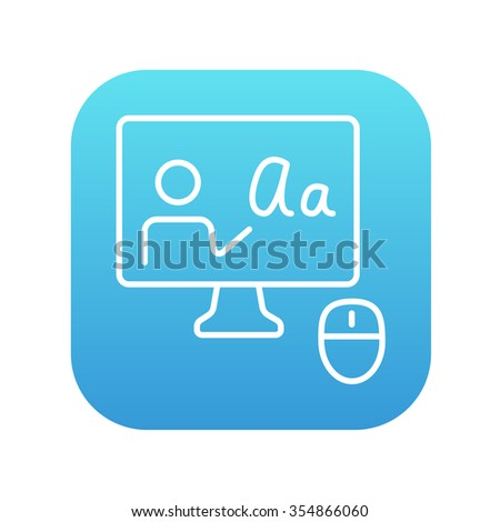 Computer monitor with online tutorial line icon for web, mobile and infographics. Vector white icon on the blue gradient square with rounded corners isolated on white background.
