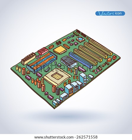 computer motherboard, isolated  - stock vector