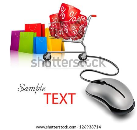 Computer mouse, a shopping cart and shopping bags. Concept of e-shopping and sale. Vector. - stock vector