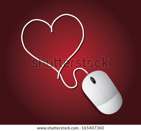 Computer mouse and cord forming a heart shape background. EPS 10 vector, grouped for easy editing. No open shapes or paths. - stock vector