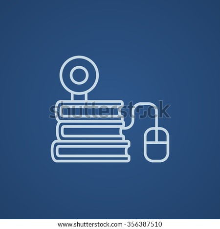Computer mouse connected to a stack of books with webcam on it line icon for web, mobile and infographics. Vector light blue icon isolated on blue background. - stock vector