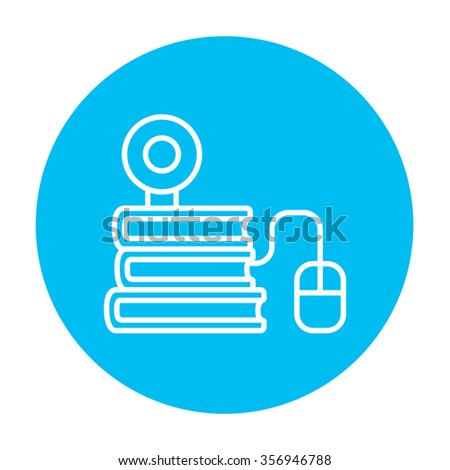 Computer mouse connected to a stack of books with webcam on it line icon for web, mobile and infographics. Vector white icon on the light blue circle isolated on white background. - stock vector