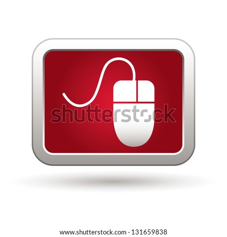 Computer mouse icon on the red with silver rectangular button. Vector illustration - stock vector