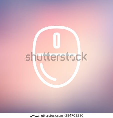 Computer mouse icon thin line for web and mobile, modern minimalistic flat design. Vector white icon on gradient mesh background. - stock vector