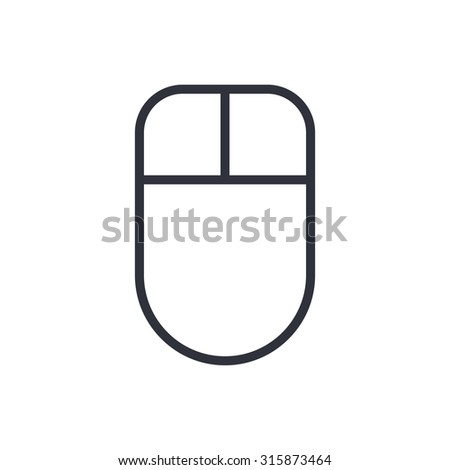 Computer mouse outline icon, modern minimal flat design style, vector illustration - stock vector
