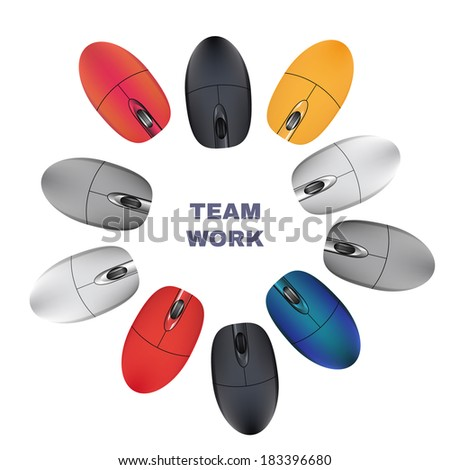 Computer Mouses. Team work. Vector - stock vector