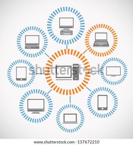 Computer network abstract scheme - stock vector
