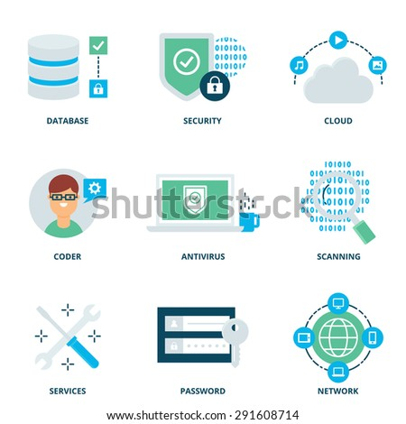 Computer network and security vector icons set modern flat style - stock vector