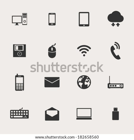 Computer Network Connections Icons Set