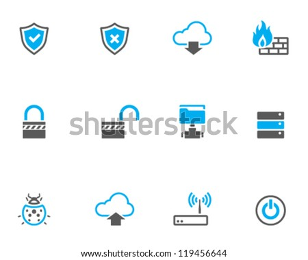 Computer network icon series in duo tone color style - stock vector