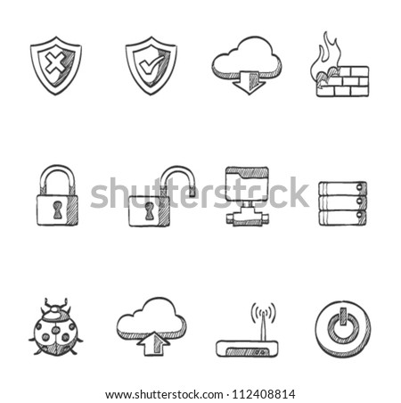 Computer network icon series in sketch - stock vector