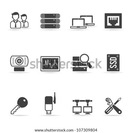 Computer network icon set  in single color. Transparent shadows placed on separated layer. - stock vector