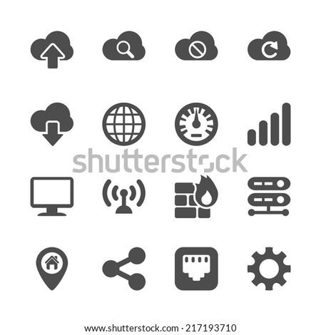 computer network icon set, vector eps10. - stock vector