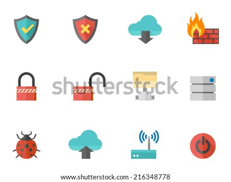 Computer network icons in flat color style - stock vector