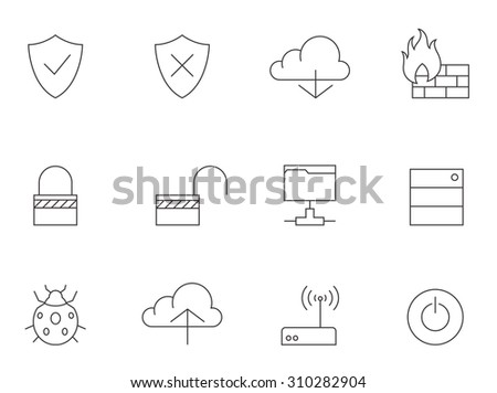 Computer network icons in thin outlines. Firewall, virus, database. - stock vector