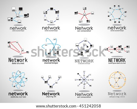 Computer Network Icons Set - Isolated On Gray Background - Vector Illustration, Graphic Design. For Web, Websites