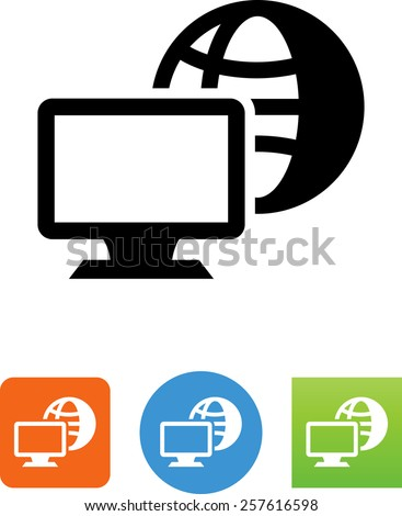 Computer network symbol for download. Vector icons for video, mobile apps, Web sites and print projects. - stock vector
