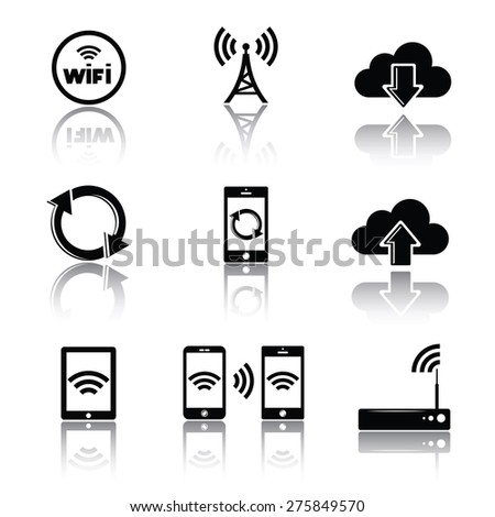 Computer networks related icons, silhouettes