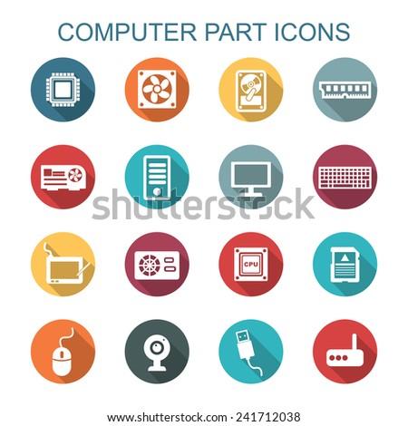 computer part long shadow icons, flat vector symbols - stock vector