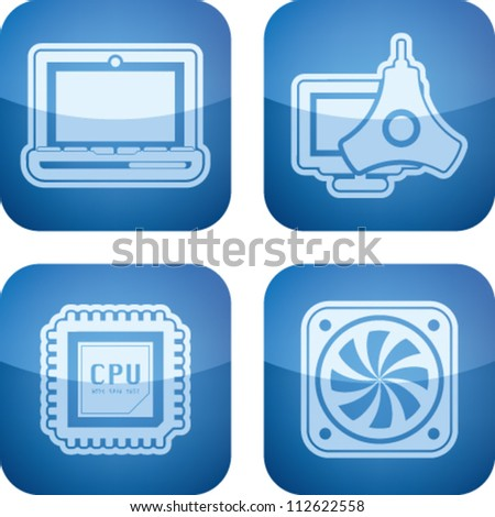 Computer parts and accessories, pictured here from left to right:  Laptop, Color Profile Monitor Calibrator, CPU Processor, Mainboard Fan. - stock vector