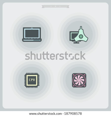 Computer parts and accessories, pictured here from left to right -  Laptop, Color Profile Monitor Calibrator, CPU Processor, Main-board Fan.  - stock vector