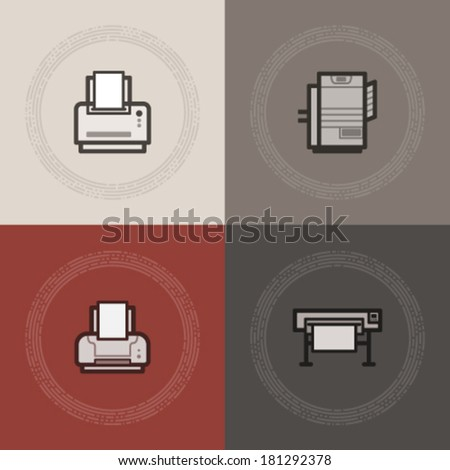 Computer parts and accessories, pictured here from left to right:  Laserjet Printer, Heavy duty Laserjet Printer, Inkjet Printer, Plotter. - stock vector