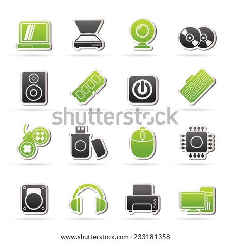 Computer Parts and Devices icons - vector icon set - stock vector