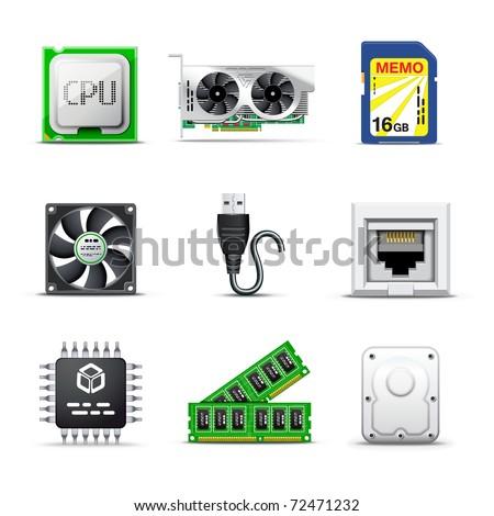 Computer parts | Bella series - stock vector