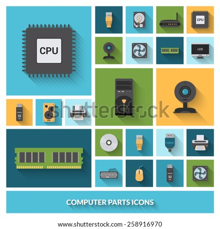 Computer parts decorative icons set with processor camera keyboard isolated vector illustration - stock vector