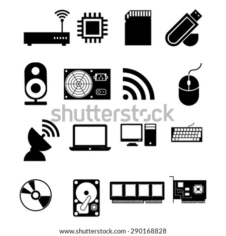 Computer Parts Icons - stock vector
