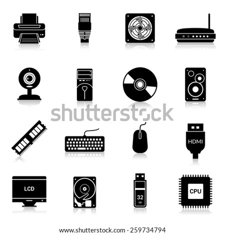 Computer parts icons black set with monitor modem keyboard isolated vector illustration - stock vector