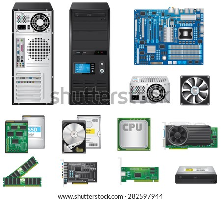 Computer Parts Set - stock vector