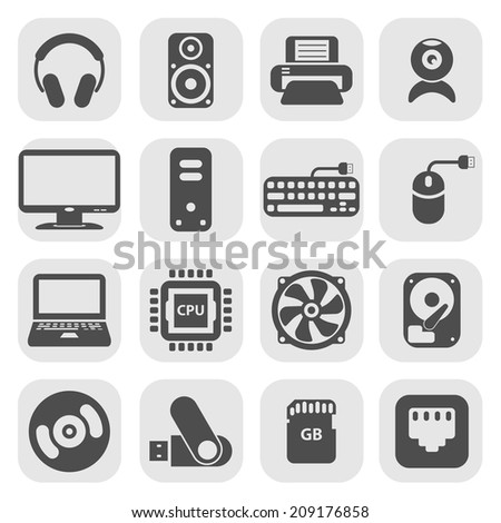 computer pc icon set, each icon is a single object (compound path), vector eps10 - stock vector
