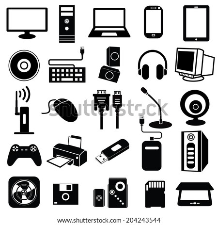 computer peripheral icon, keyboard, monitor, scanner, notebook, cam, printer, vector set