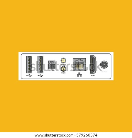 Computer peripherals connectors for Internet, video, audio, data cables. Detailed vector illustration. - stock vector