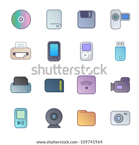 Computer peripheries, devices and consumer electronic / It Devices - stock vector