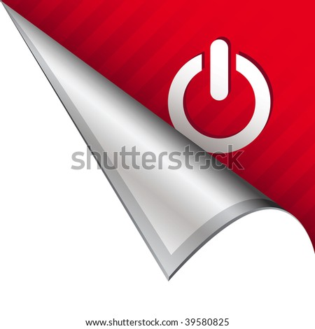 Computer power icon on vector peeled corner tab suitable for use in print, on websites, or in advertising materials. - stock vector