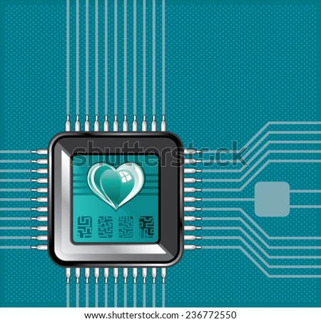 Computer processor with a heart and a code - stock vector