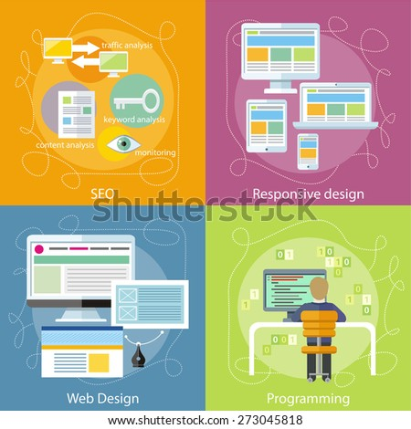 Computer programmer sitting in chair in front of computer at table and programming. Web design concept. SEO optimization, programming process and web analytics elements. Responsive web design concept - stock vector
